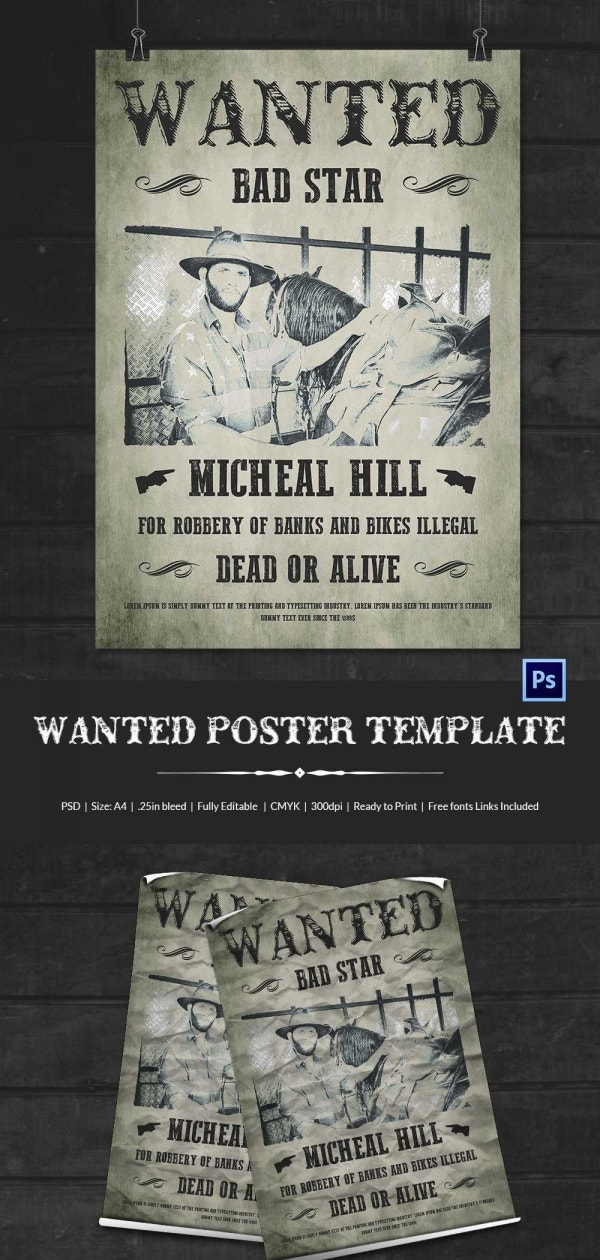 Printable Cowboy Wanted Poster Download