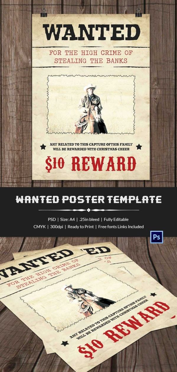 Wanted poster template 34 free printable word psd for Wanted dead or alive poster template free