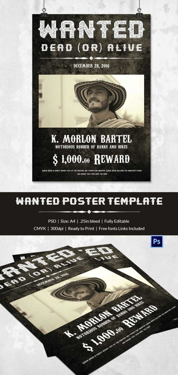 Western Wanted Poster Template