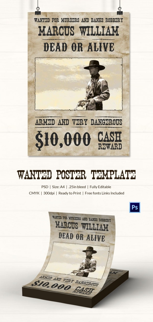 Wild West Style Dead Or Alive Poster Template