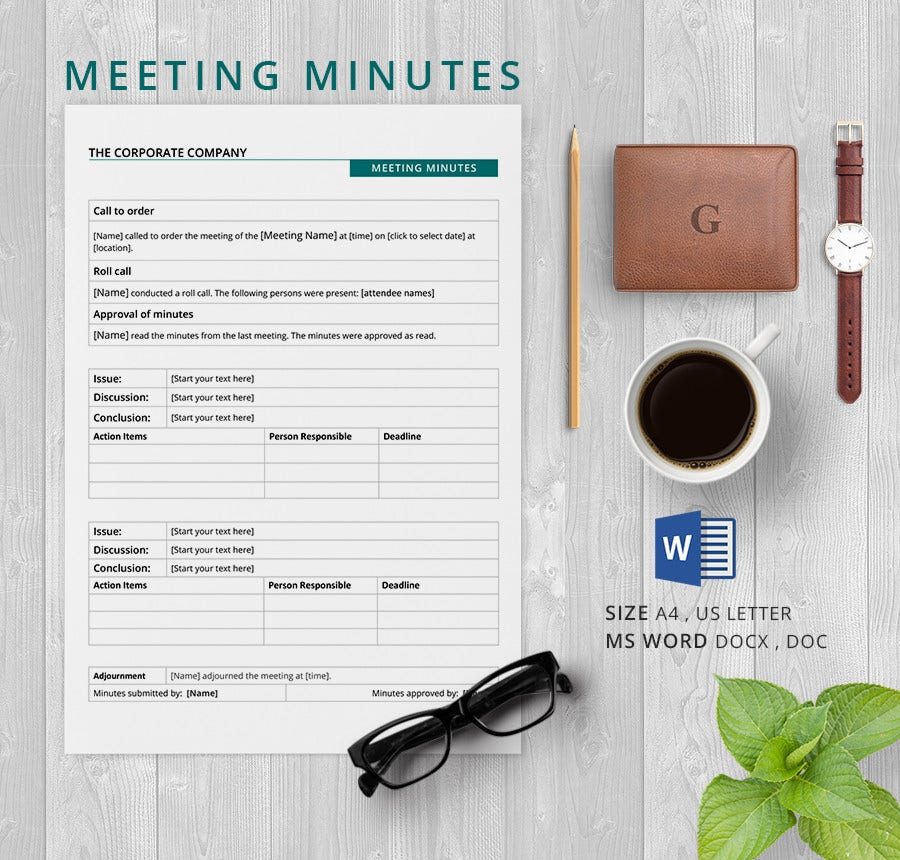 Corporate Minute Template | Corporate Minutes Template Word2