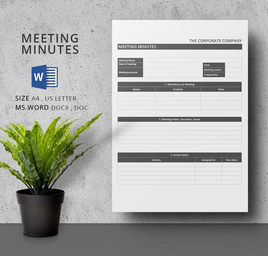 Modern Meeting Minutes Template Word