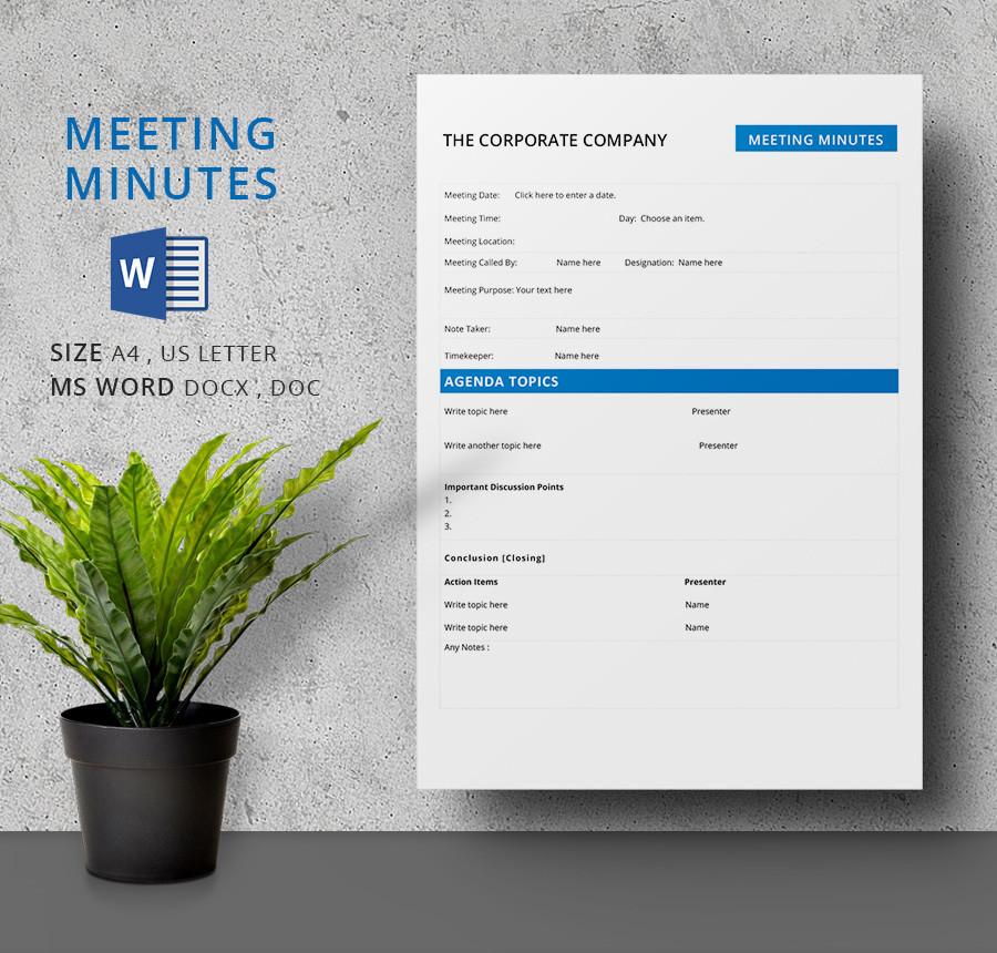 Meeting Minutes Agenda Template