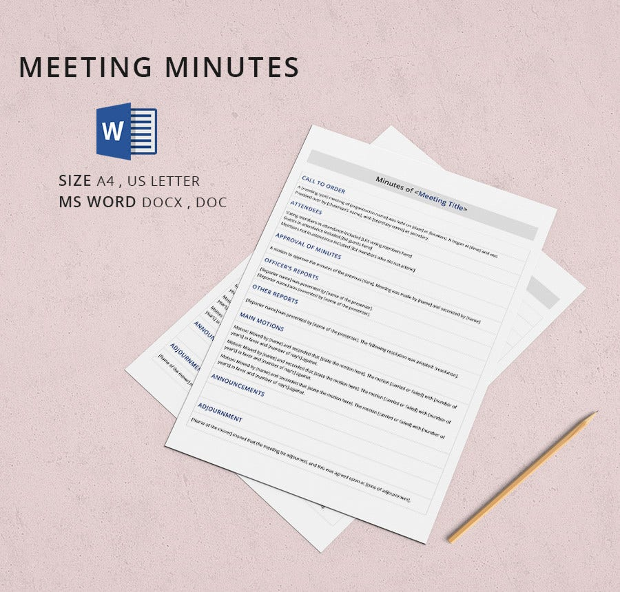13 meeting minutes template free samples examples for Recording minutes template