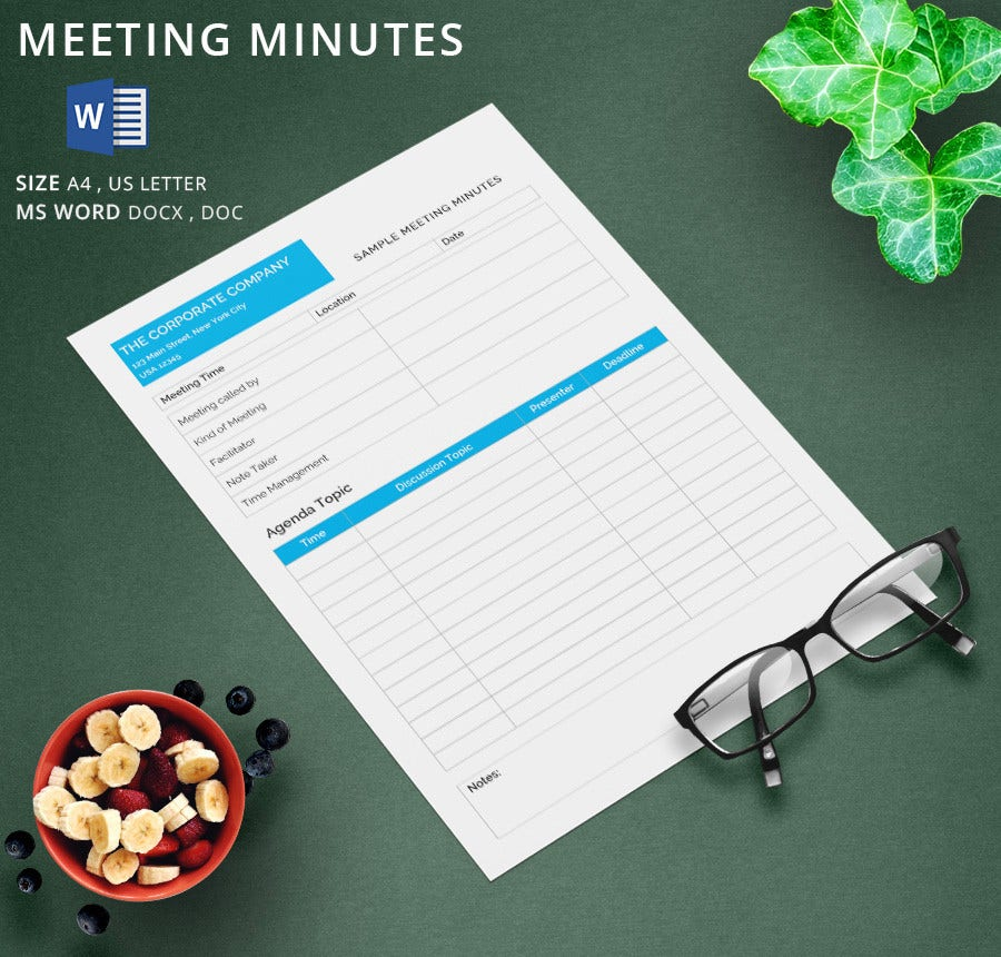 how to write business meeting minutes