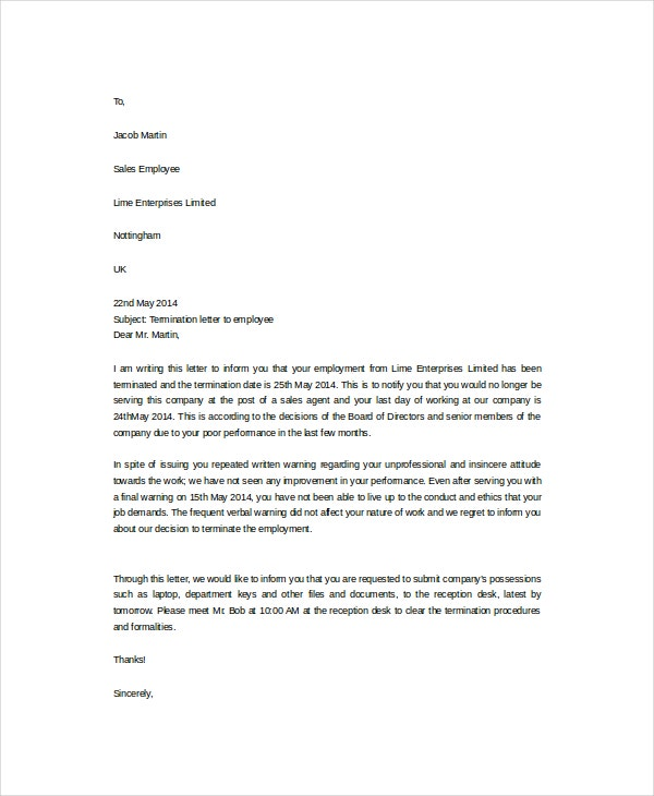 Employee Termination Letter Template  Employment Termination Letters