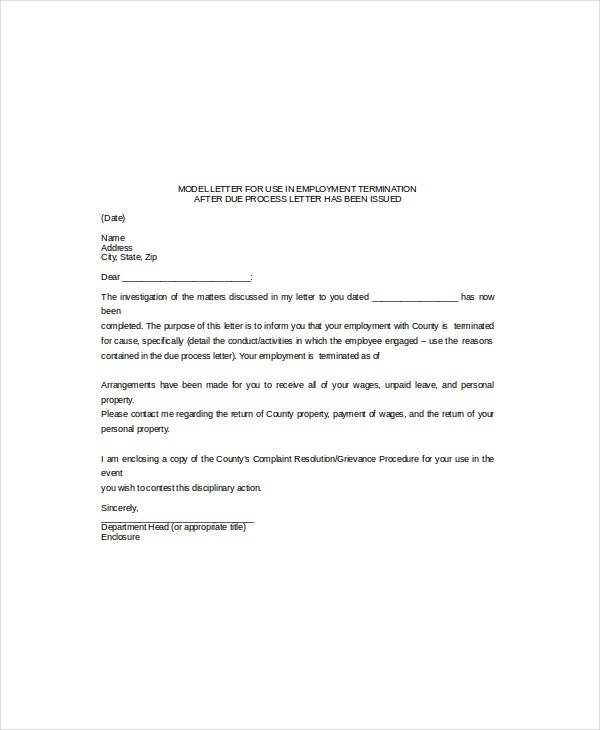 basic termination letter template