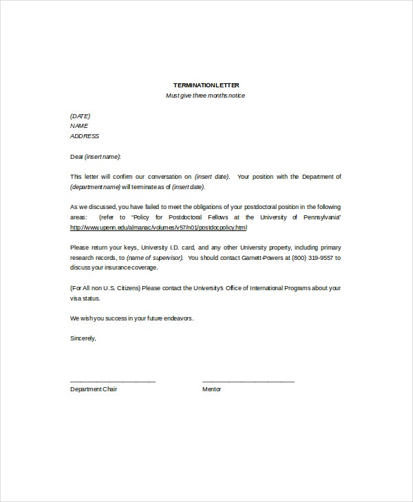 11 termination letter templates free sample example