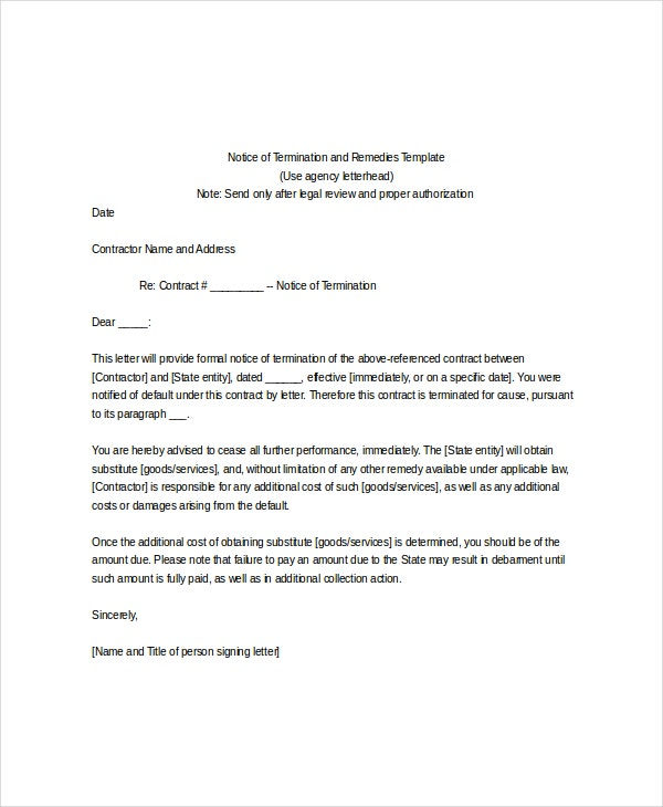 notice for termination letter template. Resume Example. Resume CV Cover Letter