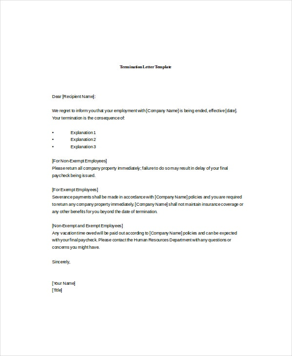 Professional Termination Letter Template