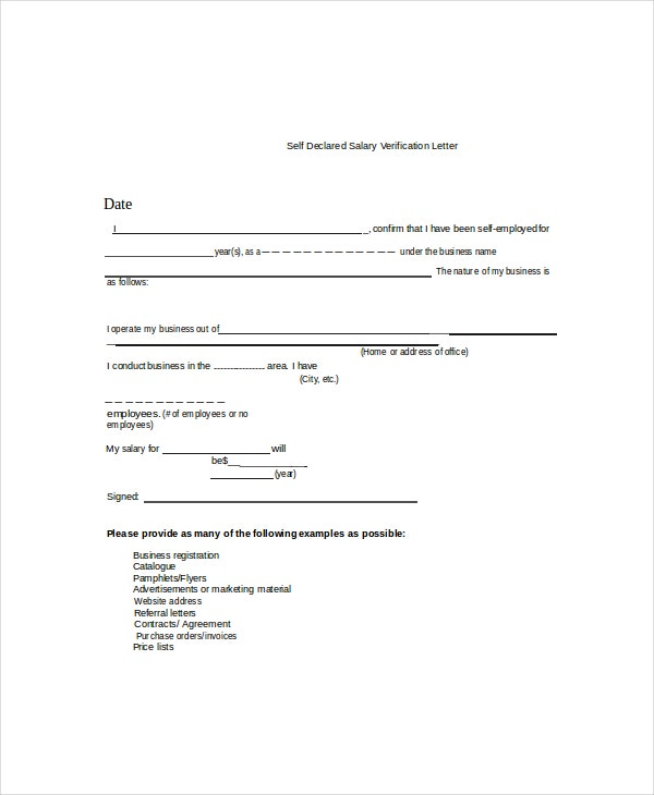 Proof Of Income Form Template