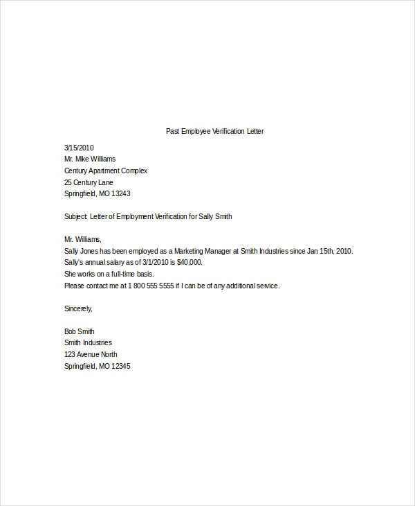 job verification letter 10 sample employment verification letters pdf word 22654 | Past Employee Verification Letter Template