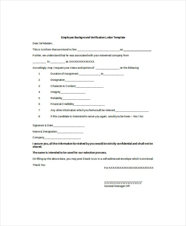 Employee Background Verification Letter Template In Employment Verification Letter Template Word