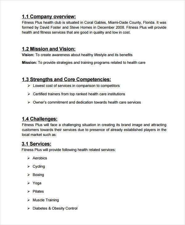 health spa business plans
