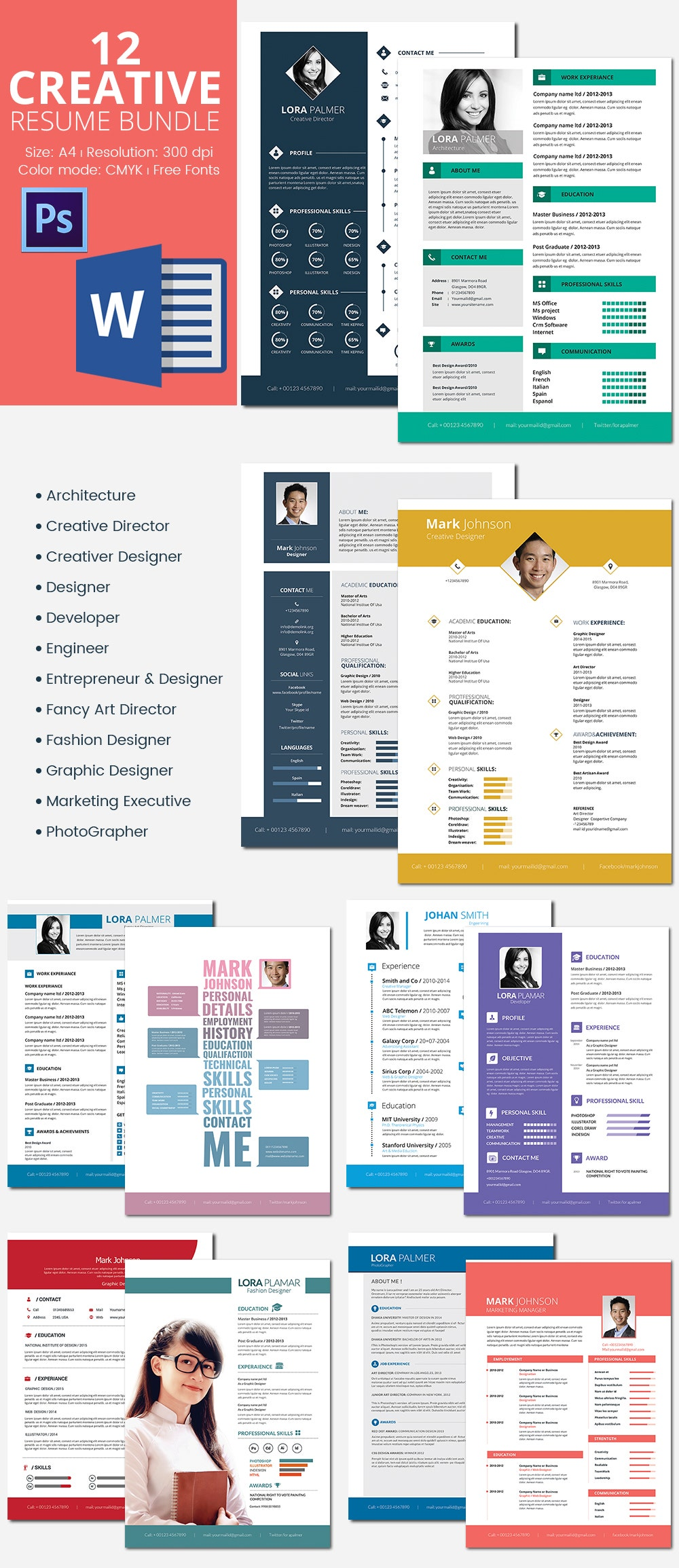 12 creative resume bundle only for 25 - Professional Resume Samples In Word Format