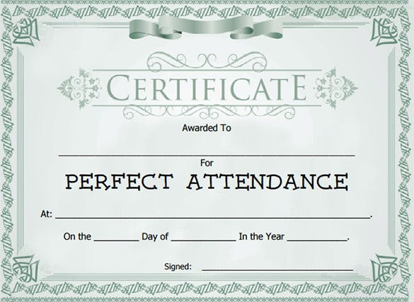 Attendance certificate templates 24 free word pdf documents attendance award certificate template download yadclub Gallery