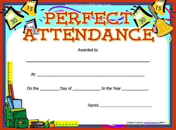 perfect attendance certificate template free printable