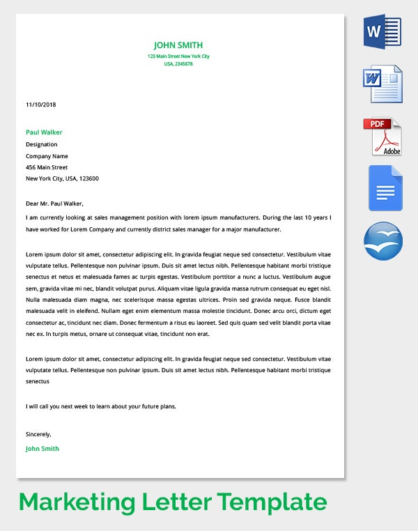 marketing promotions letter template