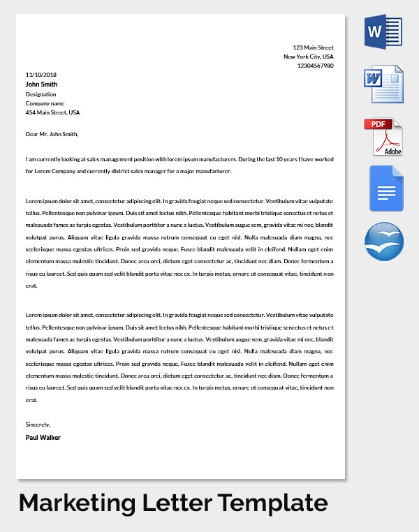 Marketing Strategy Letter Template