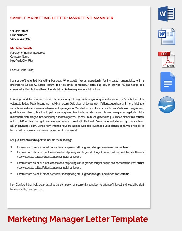 Marketing Manager Report Letter