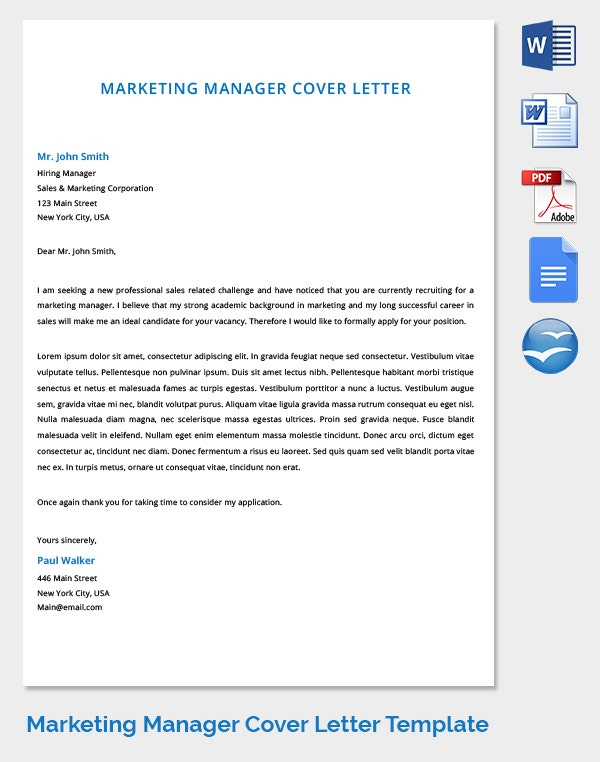 marketing manager cover letter template download