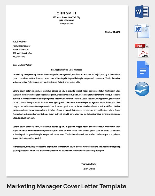 marketing team report letter to superior
