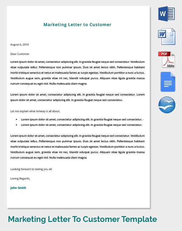 customer satisfaction marketing advise letter