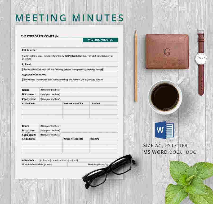 13 Meeting Minutes Template Free Samples Examples Format – Minutes of Meeting Word Template