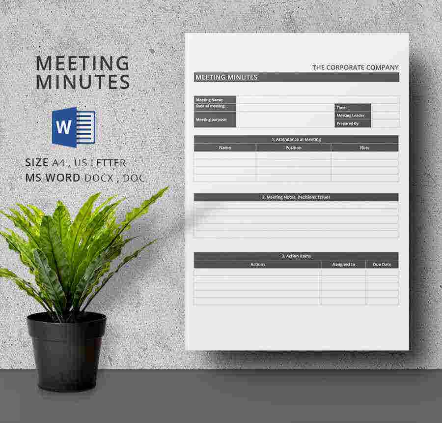 13 Meeting Minutes Template Free Samples Examples Format – Meeting Minutes Template Pages