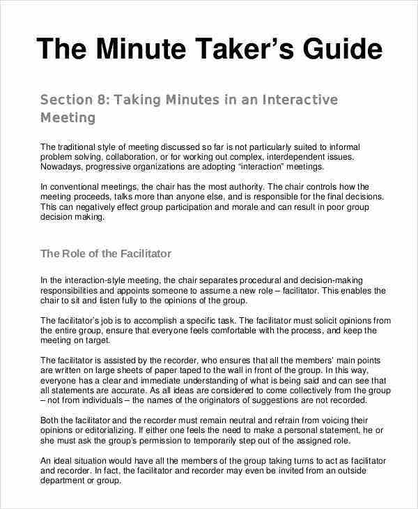 22 meeting minutes template free samples examples for How to take meeting minutes template