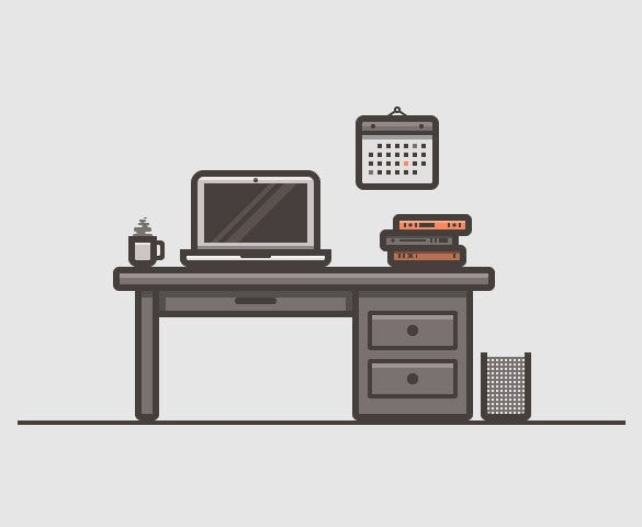 create a desk scenery using adobe illustrator