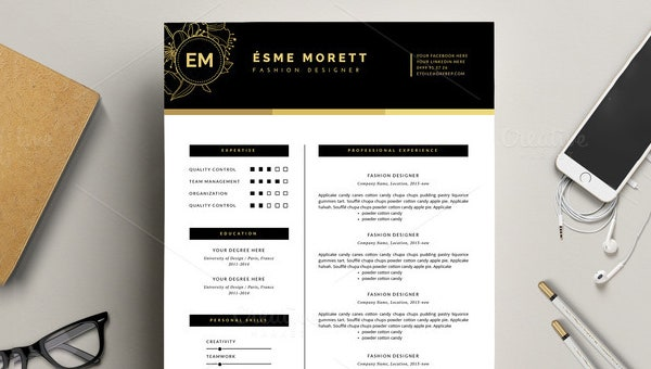 fashion designer resume template1