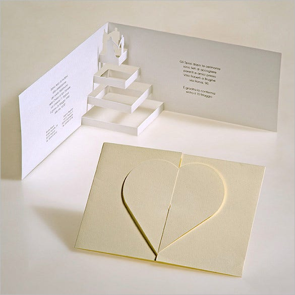 3d popup kirigami postcard wedding envelope template