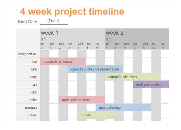 4 week calendar project timeline template