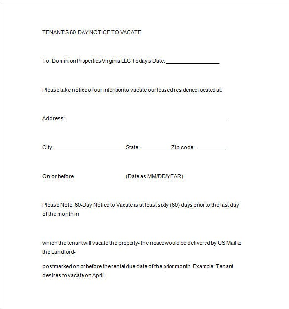 template for 60 day notice to vacate notice templates 104 free word pdf format download