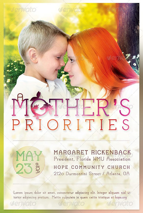 a mother's priorities flyer template