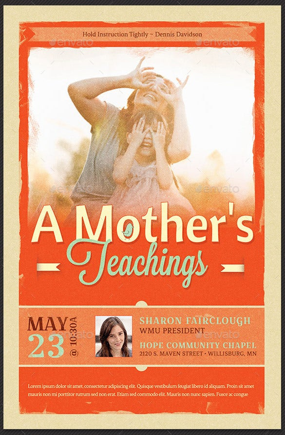 a mother's teachings flyer template