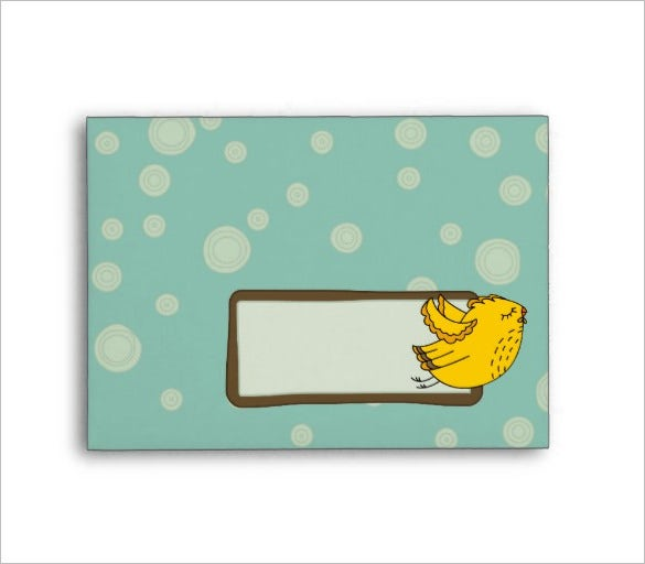 a6 aqua blue yellow retro chic bird 4x6 envelope