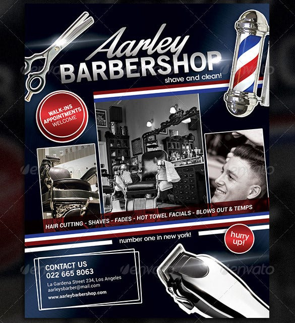 aarleys barber shop flyer template