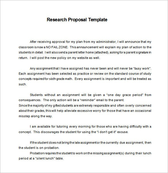 Research Proposal Template   Free Word Excel  Format