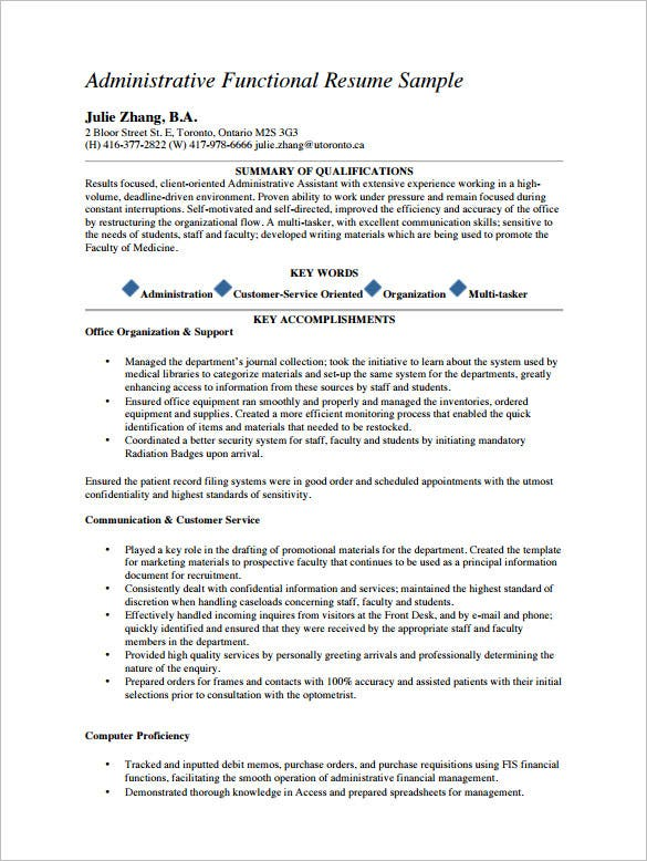 Administrative Assistant Resume Samples Free | Sample Resume And