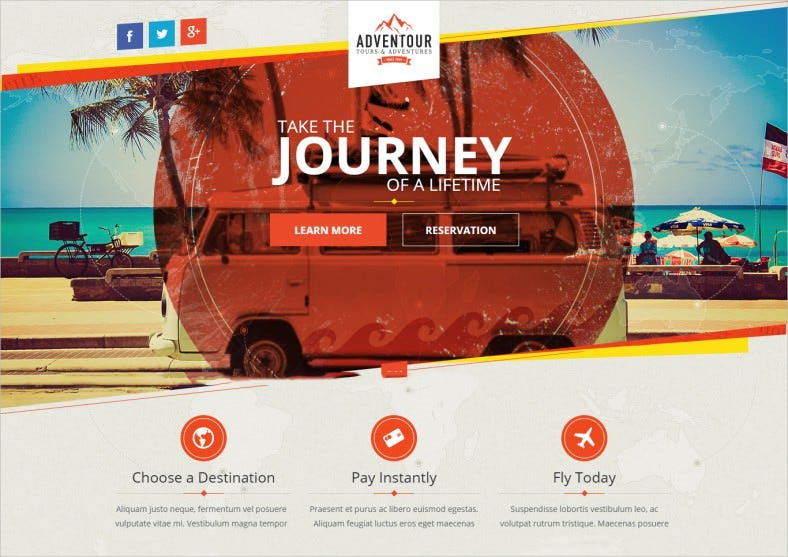 adventour pagewiz travel landing page 788x557