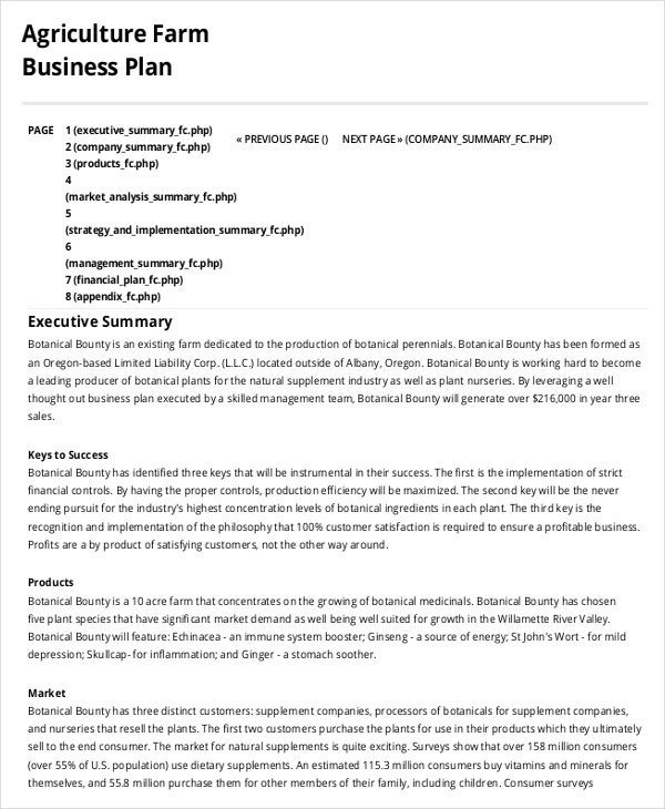 Farm Business Plan Template 14 Sample Word Google Docs