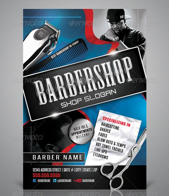 amazing barber shop flyer template
