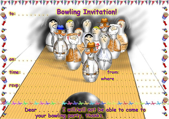 15 Outstanding Bowling Invitation Templates Designs – Printable Bowling Party Invitations