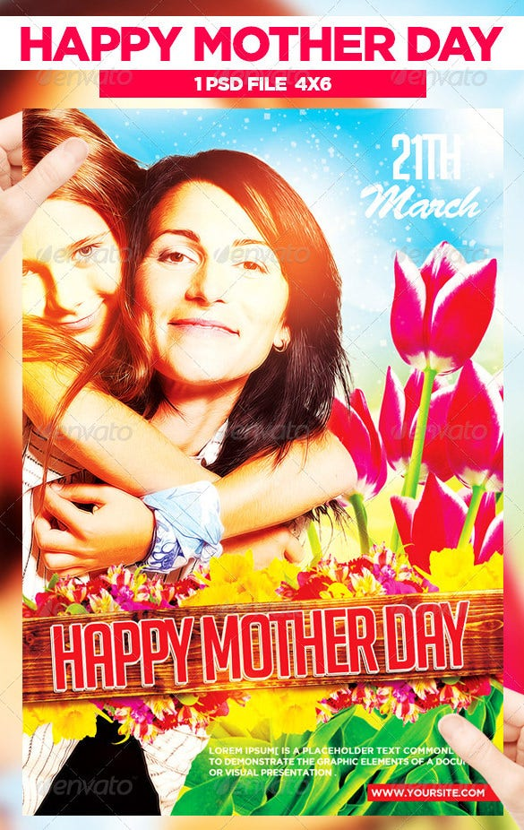 amazing happy mother day flyer template