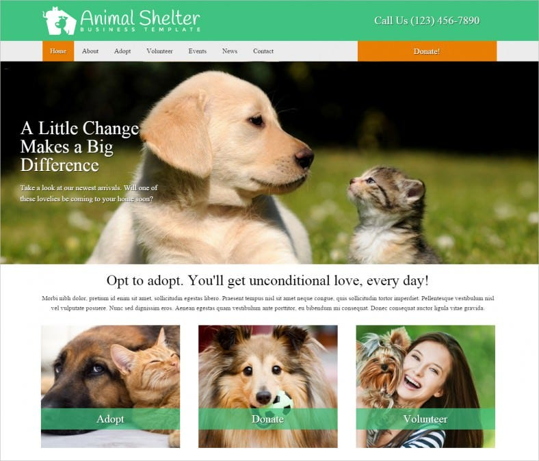 animal shelter wordpress theme 788x674