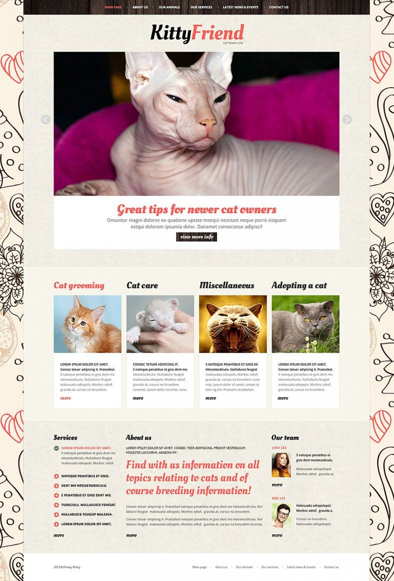 animals pets joomla template 788x1161