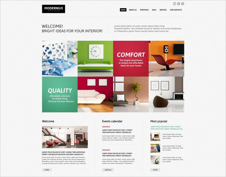 Animated Portfolio Joomla Template for Interior Design
