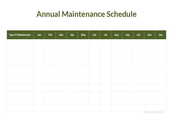 annual maintenance schedule template